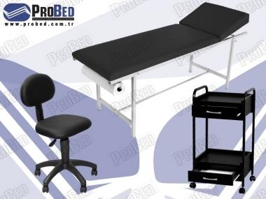 sırt kısmı hareketli piercing yatağı, arkalıklı uzman taburesi, ahşap setup sehpası