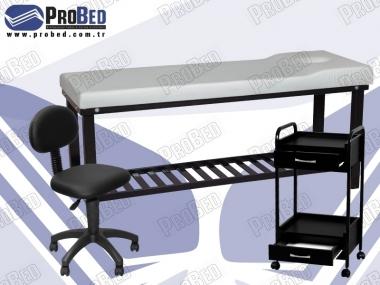 medikal muayene masası, ahşap setup sehpası, dövmeci taburesi