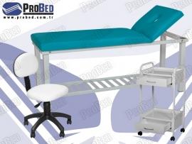 cilt bakım masası, etajer, arkalıklı tabure