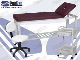 sırt kısmı hareketli masaj masası, tekerlekli etajer, arkalıklı dönebilen tabure