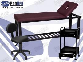 sırt kısmı hareketli spa yatağı, çekmeceli etajer, medikal arkalıklı tabure