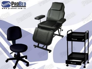 kalıcı makyaj koltuğu, tekerlekli cihaz sehpası, arkalıklı dönebilen sandalye