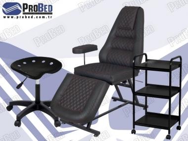 sırt ve ayak kısmı harketli tattoo koltuğu, raflı çalışma sehpası, dövmeci sandalyesi