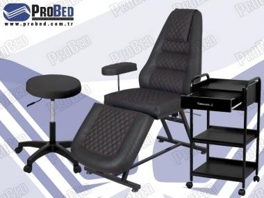 cilt bakım koltuğu, uzman estetisyen sandalyesi, çekmeceli setup sehpası