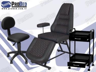 sırt ve yak kısmı hareketli cilt bakım koltuğu, arkalıklı çalışma sandalyesi, iki çekmeceli cihaz taşıma sehpası