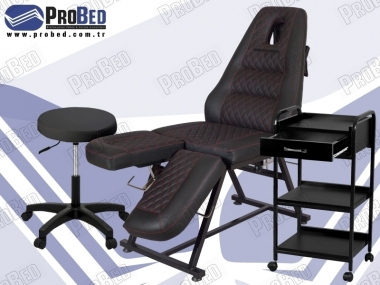 kalıcı makyaj koltuğu, malzeme taşıma sehpası, dönebilen çalışma sandalyesi