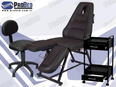 yüz koyma yerli saç ekim koltuğu, sırtlıklı doktor sandalyesi, ahşap çekmeceli malzeme taşıma sehpası