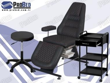 tattoo koltuğu, 2 raflı çekmeceli setup sehpası, tattoo sandalyesi