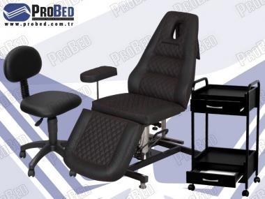 sırtlıklı dönebilen estetisyen sandalyesi, kuaför malzemeleri, çekmeceli cihaz sehpası