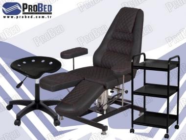 hidrolikli bakım koltuğu, dönebilen uzman taburesi, medikal raflı cihaz sehpası