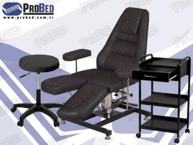 hidrolikli estetsiyen koltuğu, uzman estetisyen taburesi, malzeme taşıma sehpası