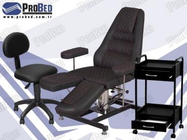 kalıcı makyaj koltuğu, ahşap çekmeceli malzeme arabası, sırtlıklı dönebilen uzman taburesi