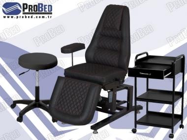 estetisyen koltuğu, estetisyen taburesi, malzeme taşıma sehpası