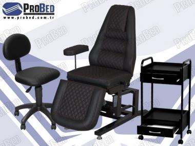 kalıcı makyaj koltuğu, sırtlıklı dövmeci taburesi, 2 çekmeceli malzeme sehpası