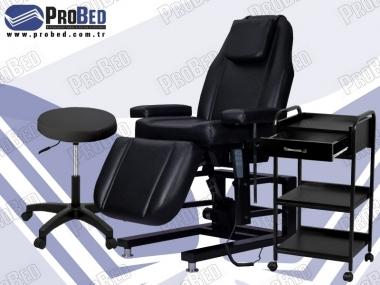 3 motorlu elektrikli cilt bakım koltuğu, etajer, uzman taburesi