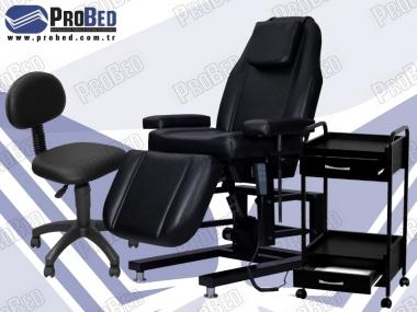2 çekmeceli cihaz taşıma sehpası, medikal uzman taburesi, 3 motorlu cilt bakım koltuğu