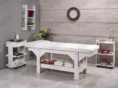 Lüks Ahşap Bakım ve Masaj Masası - Beyaz