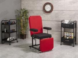 Die Rückenlehne und Fußstütze beweglichen Sitz-Teil (Rot-Schwarz)