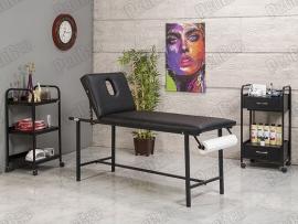 Basic Katlanır Bakım ve Masaj Masası | Siyah - Havluluk Aparatlı