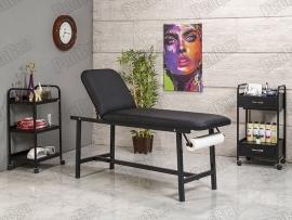 Oval Katlanır Ayaklı Bakım Masası | Siyah - Havluluk Aparatlı