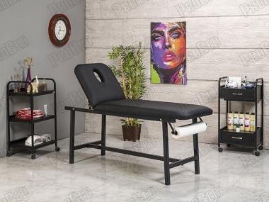 Oval Katlanır Bakım ve Masaj Masası | Siyah - Havluluk Aparatlı
