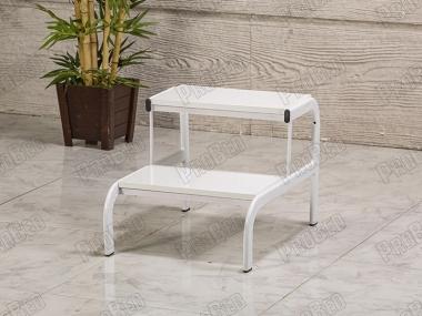 İki Basamaklı Eskabo Merdiven | Metal Gövde - Beyaz - Oval