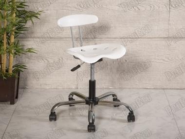 Amortisörlü Çalışma Sandalyesi | Kromajlı Oturaklı - Beyaz - Plastik Ayak