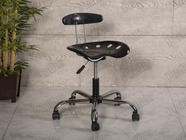 Amortisörlü Çalışma Sandalyesi | Plastik Oturaklı - Siyah - Kromajlı Ayak