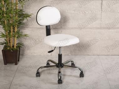 Amortisörlü Çalışma Sandalyesi | Beyaz - Kromajlı Ayak