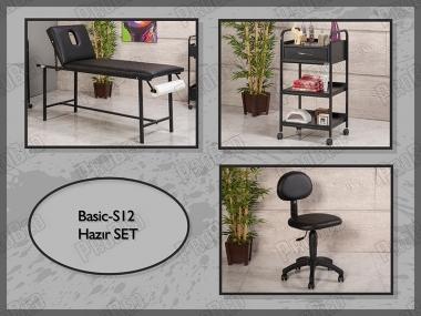 Hazır Setler | Basic-S12 | Sedye (Delikli), Cihaz Sehpası, Sandalye