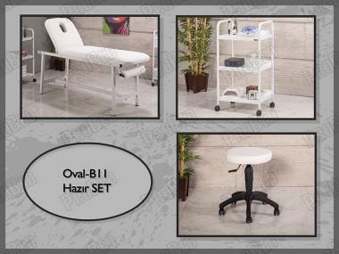 Hazır Setler | Oval-B11 | Sedye (Delikli), Cihaz Sehpası, Tabure
