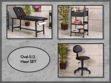 Hazır Setler | Oval-S12 | Sedye (Delikli), Cihaz Sehpası, Sandalye