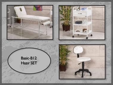 Hazır Setler | Basic-B12 | Sedye (Delikli), Cihaz Sehpası, Sandalye
