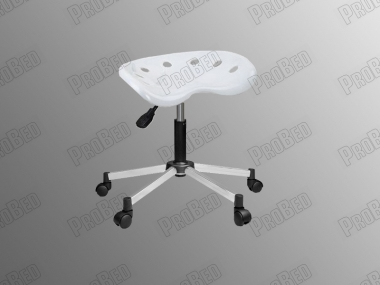 ProBed-8315 Amortisörlü Tabure (Plastik Oturaklı - Beyaz - Krom Ayak)